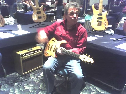 Randy demonstrating Crescent Moon guitars