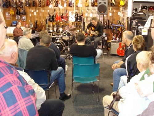 Demonstrating the new Eddie Durham Guitar